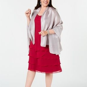 INC Pleated Lightweight Party Evening Wrap Silver